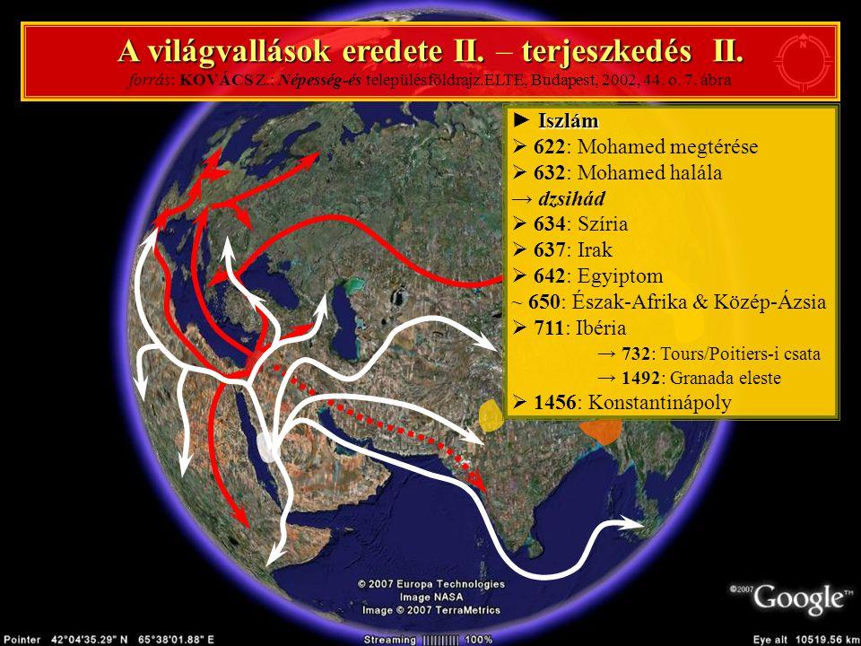 A világvallások eredete II. – terjeszkedés II. forrás: KOVÁCS Z