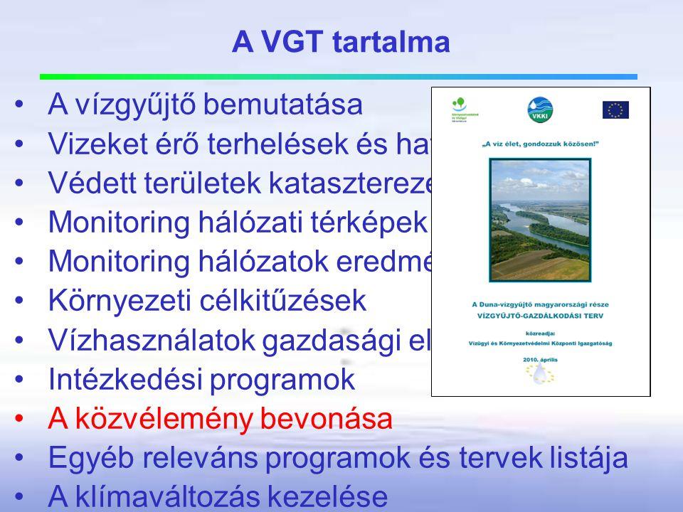 A VGT tartalma A vízgyűjtő bemutatása. Vizeket érő terhelések és hatásaik. Védett területek kataszterezése.