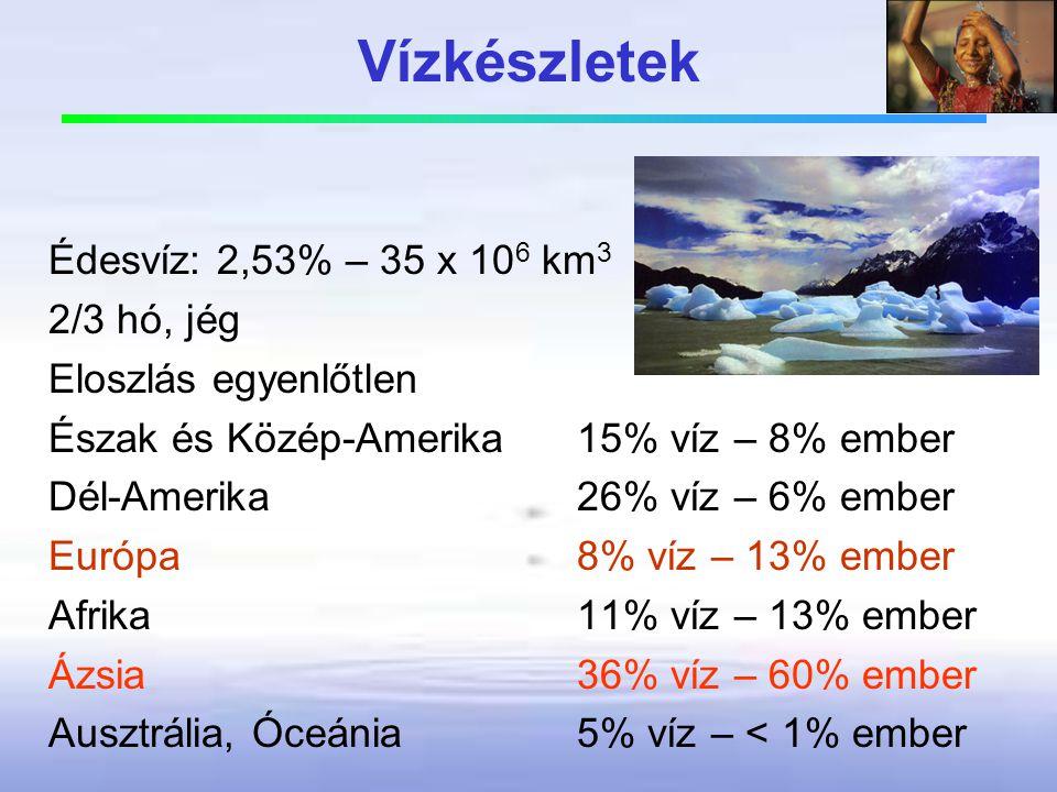 Vízkészletek Édesvíz: 2,53% – 35 x 106 km3 2/3 hó, jég