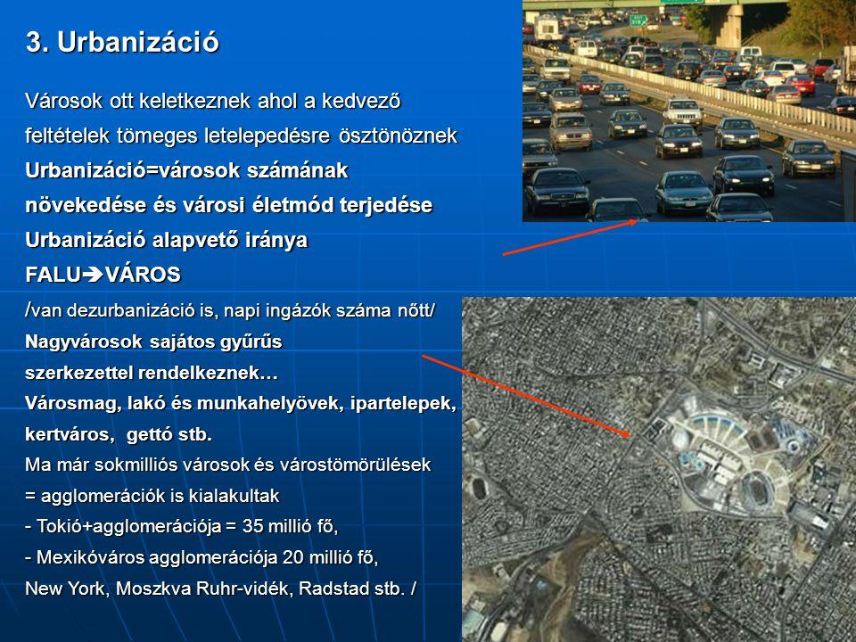 3. Urbanizáció Városok ott keletkeznek ahol a kedvező