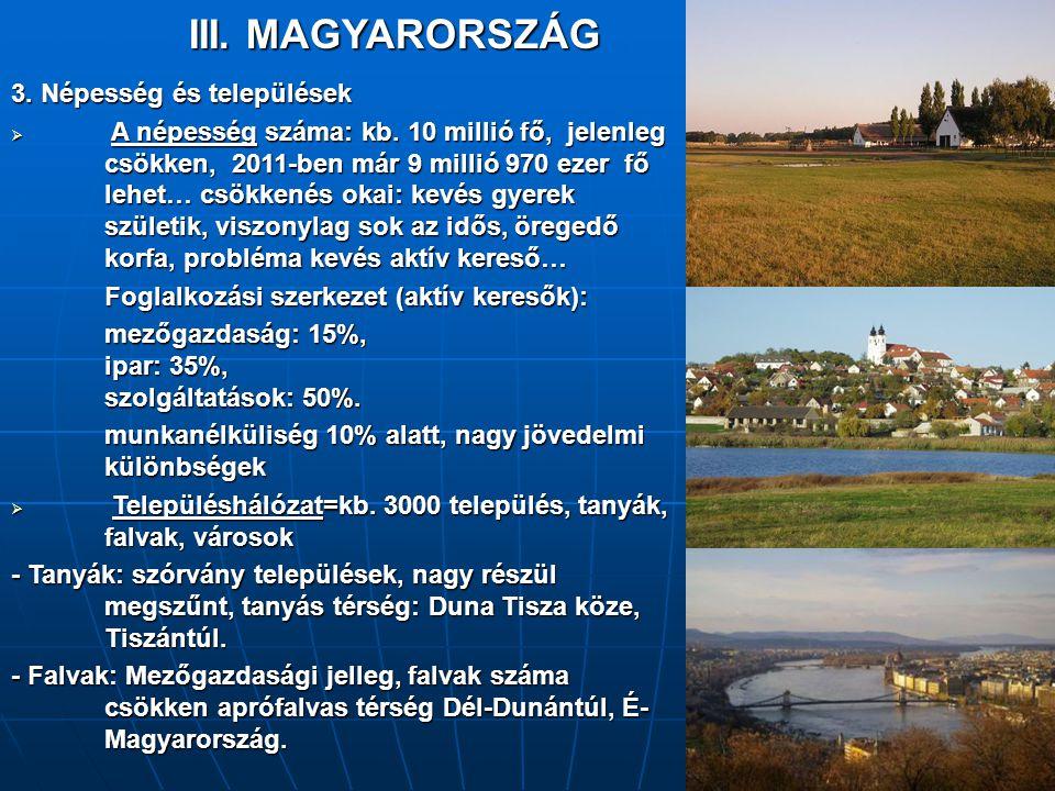 III. MAGYARORSZÁG 3. Népesség és települések