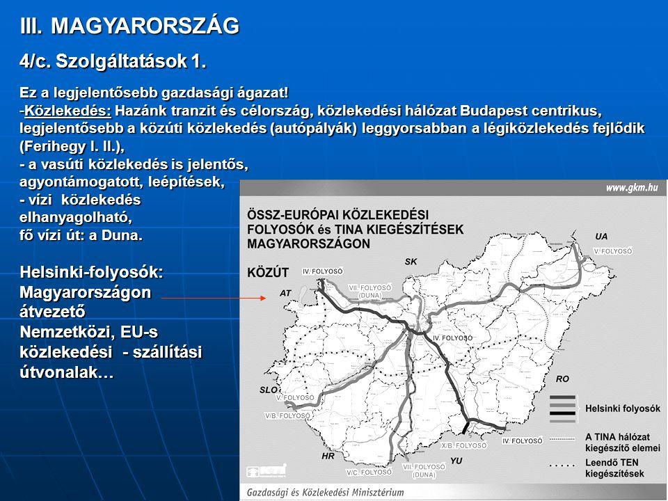 III. MAGYARORSZÁG 4/c. Szolgáltatások 1. Magyarországon átvezető