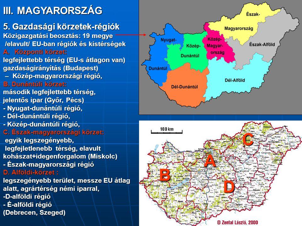 C A B D III. MAGYARORSZÁG 5. Gazdasági körzetek-régiók