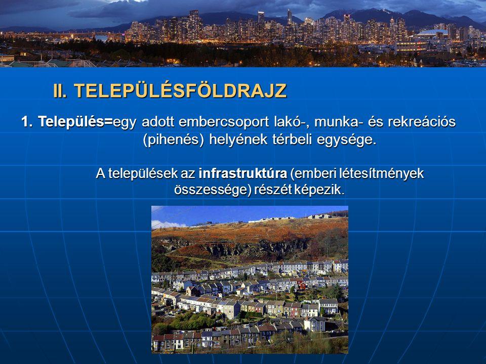 II. TELEPÜLÉSFÖLDRAJZ 1. Település=egy adott embercsoport lakó-, munka- és rekreációs (pihenés) helyének térbeli egysége.