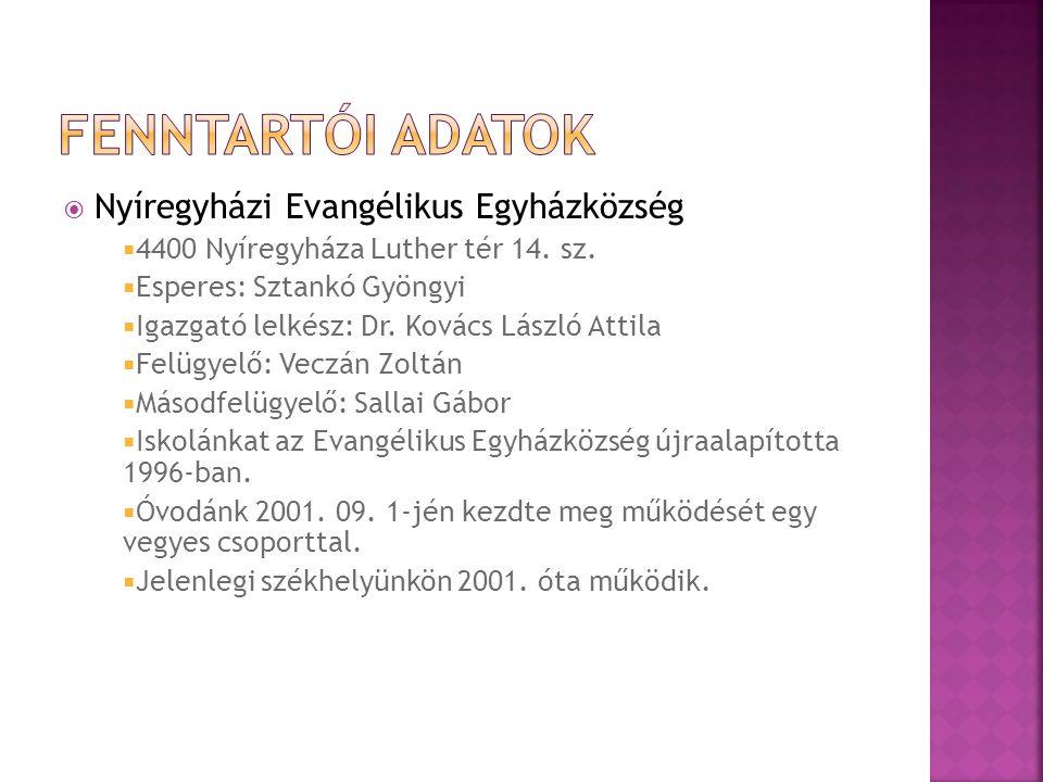 Fenntartói adatok Nyíregyházi Evangélikus Egyházközség
