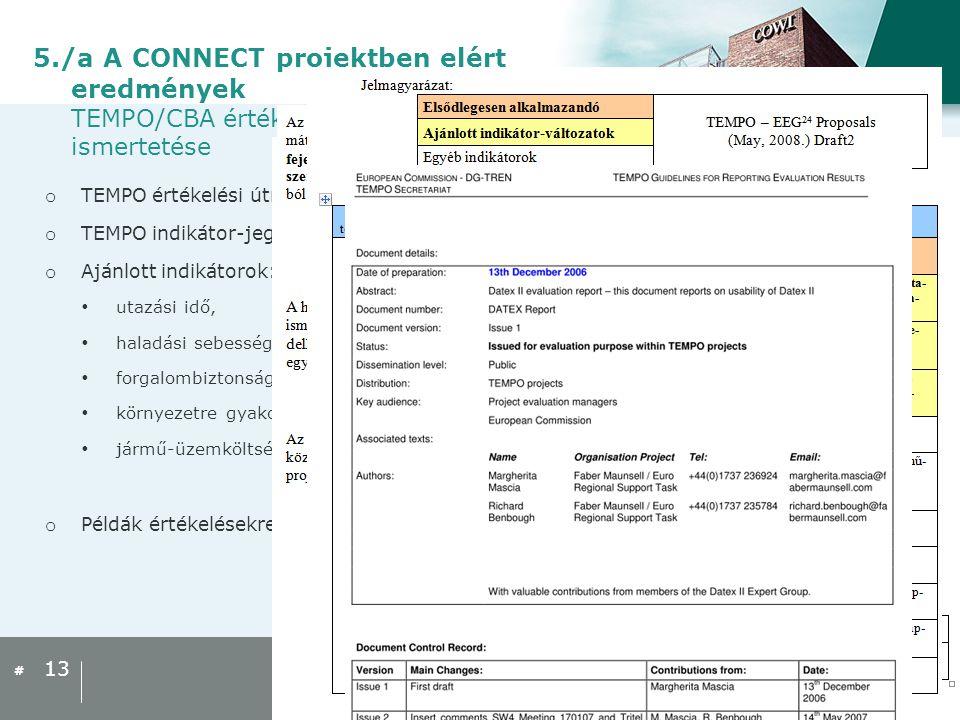 5./a A CONNECT projektben elért eredmények TEMPO/CBA értékelési útmutató ismertetése