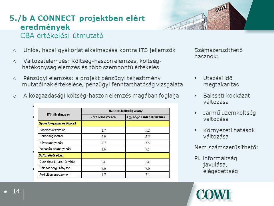 5./b A CONNECT projektben elért eredmények CBA értékelési útmutató