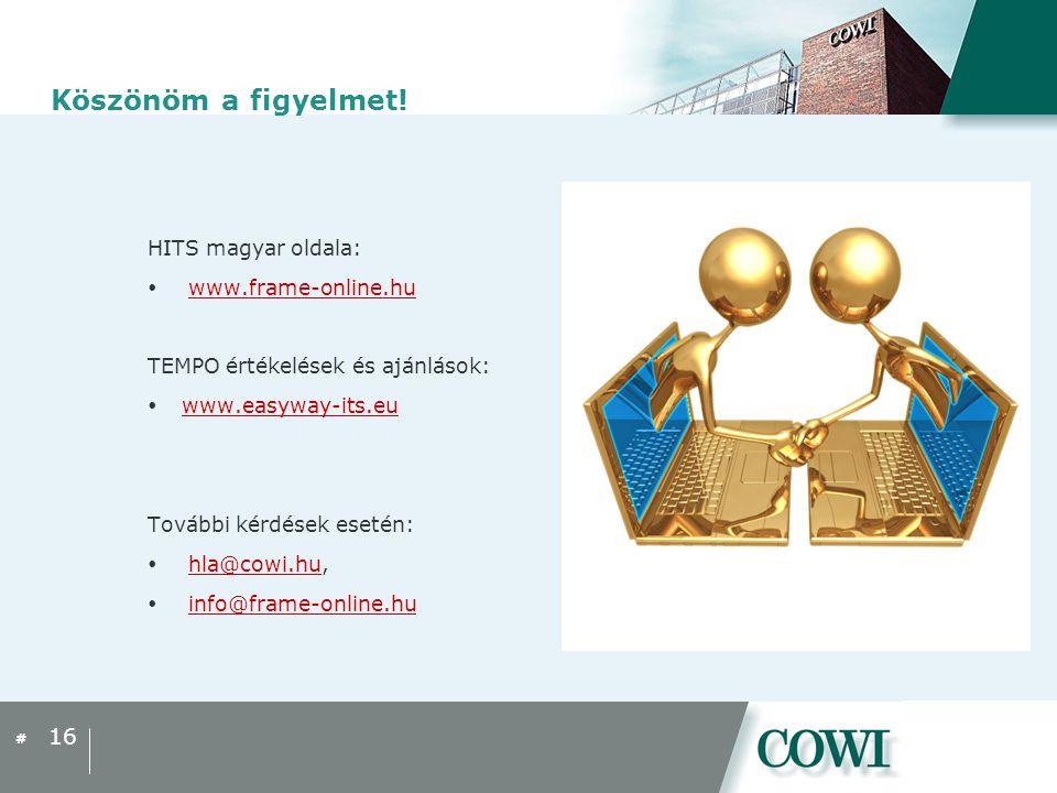 Köszönöm a figyelmet! HITS magyar oldala: www.frame-online.hu