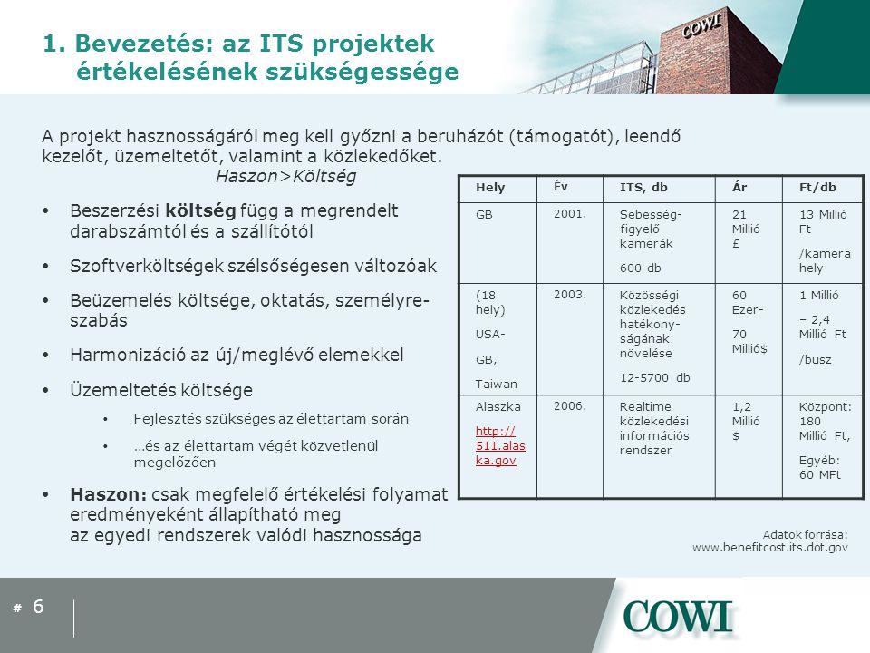 1. Bevezetés: az ITS projektek értékelésének szükségessége