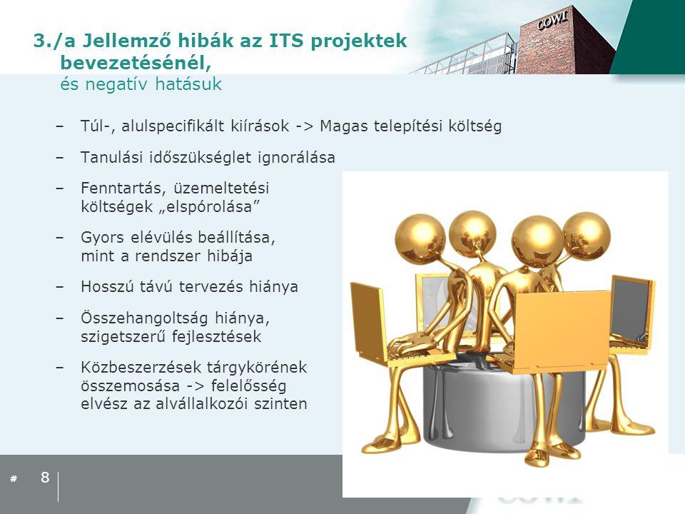 3./a Jellemző hibák az ITS projektek bevezetésénél, és negatív hatásuk