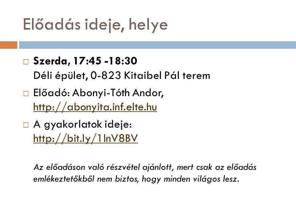 Előadás ideje, helye Szerda, 17:45 -18:30 Déli épület, 0-823 Kitaibel Pál terem. Előadó: Abonyi-Tóth Andor, http://abonyita.inf.elte.hu.