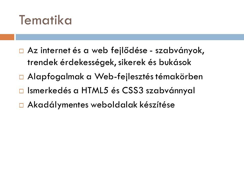 Tematika Az internet és a web fejlődése - szabványok, trendek érdekességek, sikerek és bukások. Alapfogalmak a Web-fejlesztés témakörben.