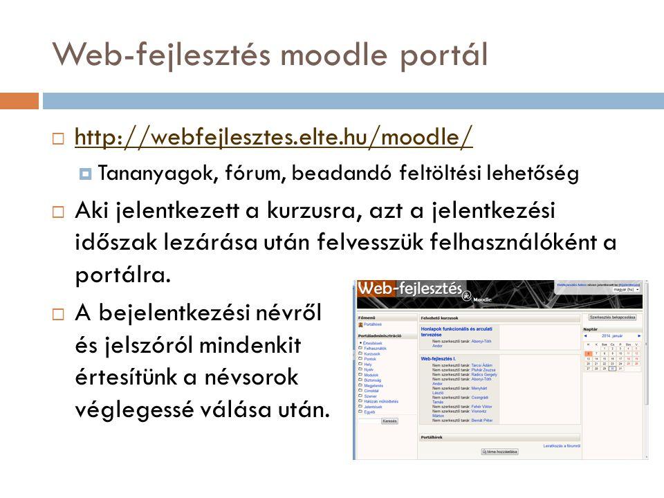 Web-fejlesztés moodle portál