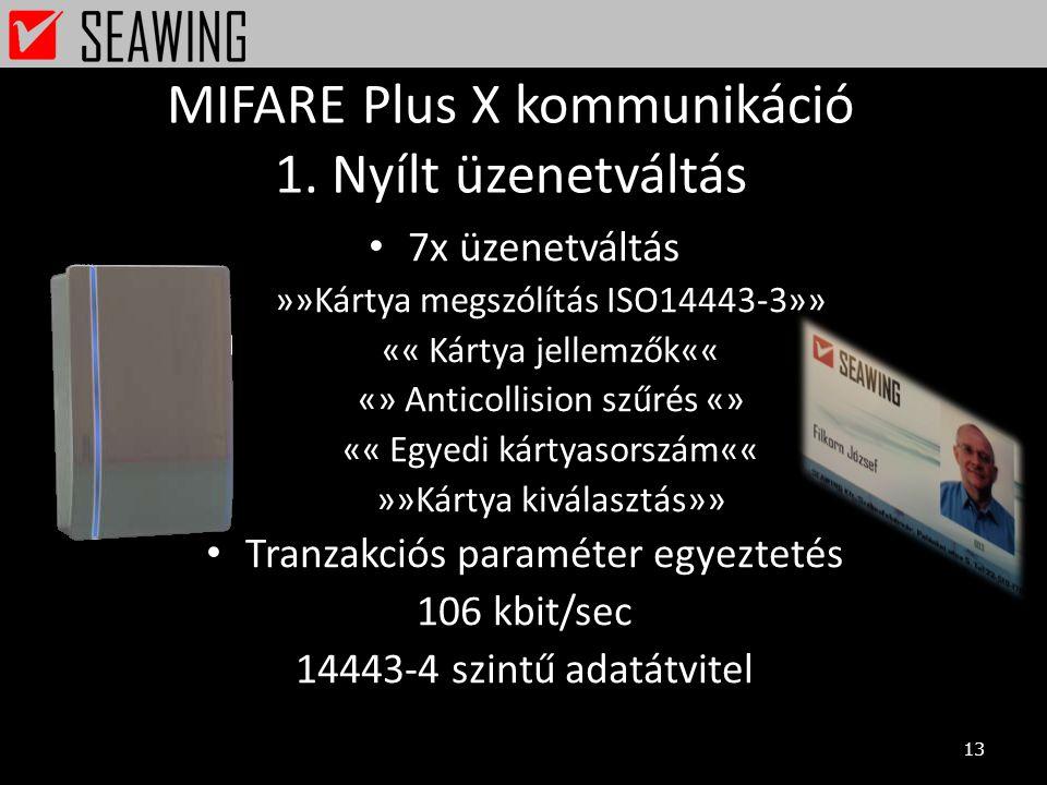 MIFARE Plus X kommunikáció 1. Nyílt üzenetváltás