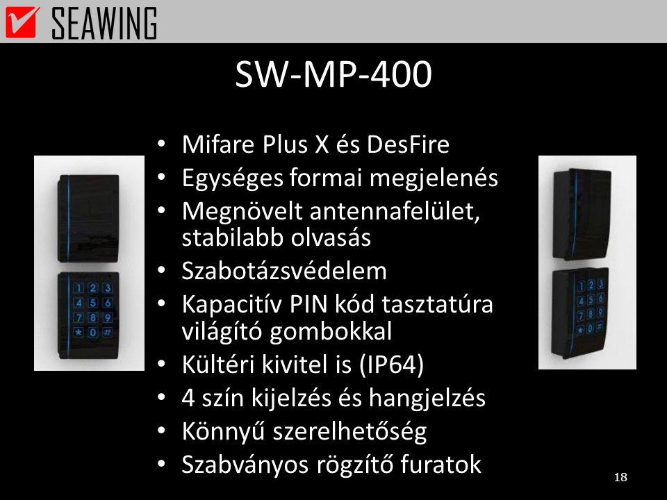 SW-MP-400 Mifare Plus X és DesFire Egységes formai megjelenés