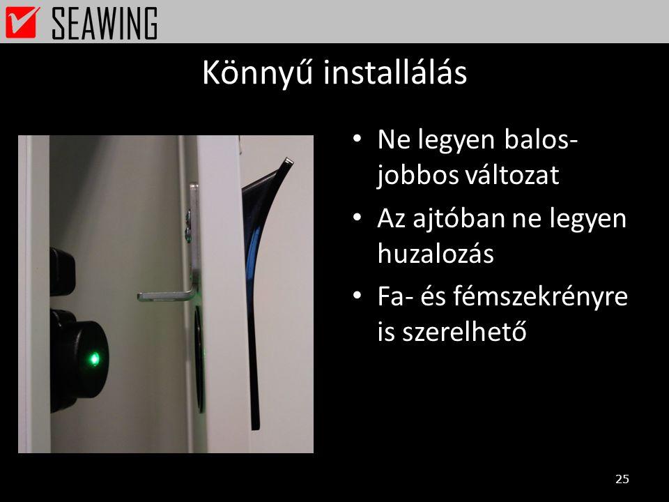 Könnyű installálás Ne legyen balos-jobbos változat
