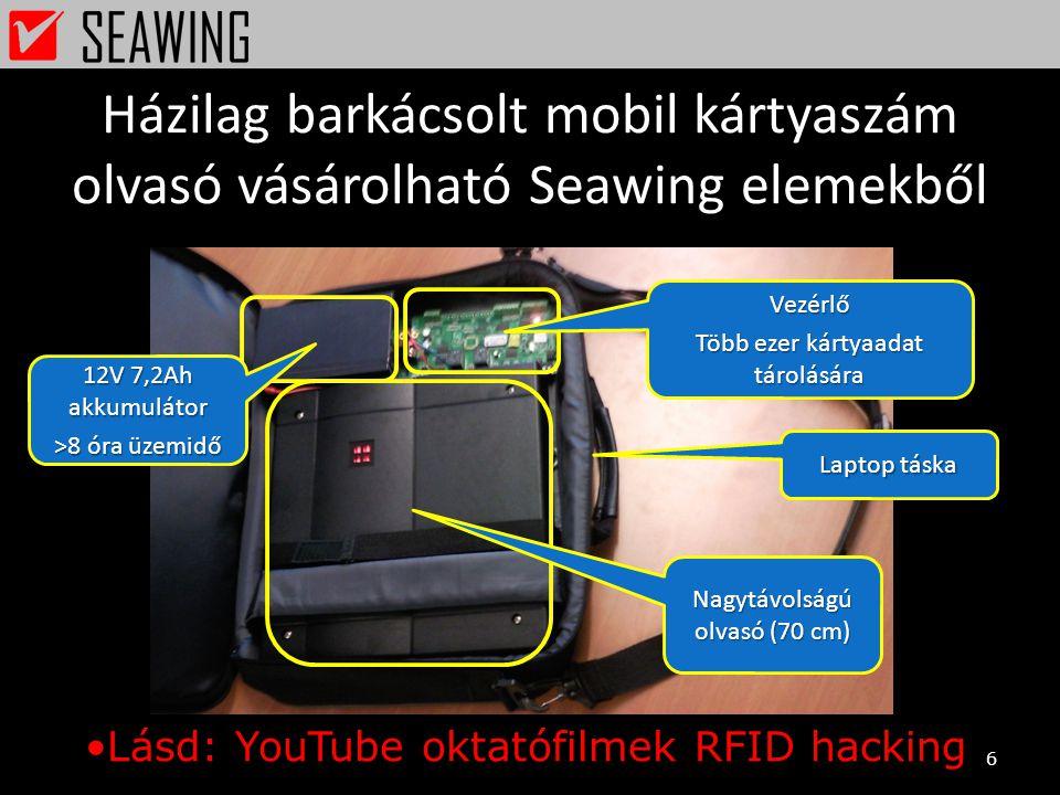 Házilag barkácsolt mobil kártyaszám olvasó vásárolható Seawing elemekből