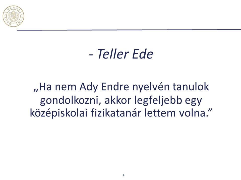 """- Teller Ede """"Ha nem Ady Endre nyelvén tanulok gondolkozni, akkor legfeljebb egy középiskolai fizikatanár lettem volna."""