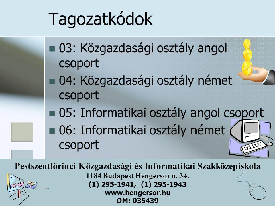 Tagozatkódok 03: Közgazdasági osztály angol csoport