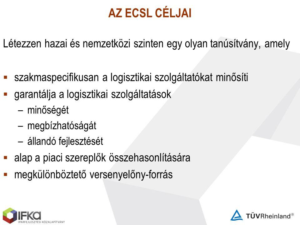 AZ ECSL CÉLJAI Létezzen hazai és nemzetközi szinten egy olyan tanúsítvány, amely. szakmaspecifikusan a logisztikai szolgáltatókat minősíti.