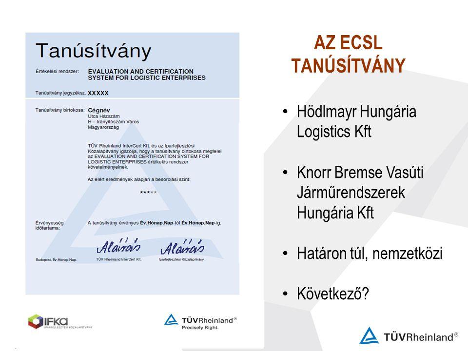 AZ ECSL TANÚSÍTVÁNY Hödlmayr Hungária Logistics Kft