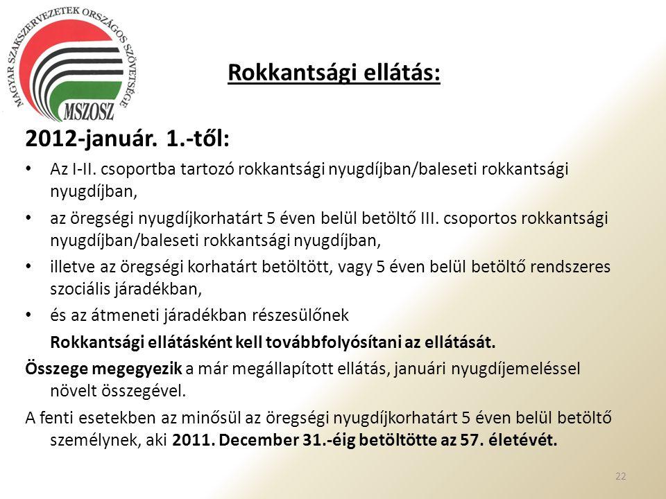 Rokkantsági ellátás: 2012-január. 1.-től: