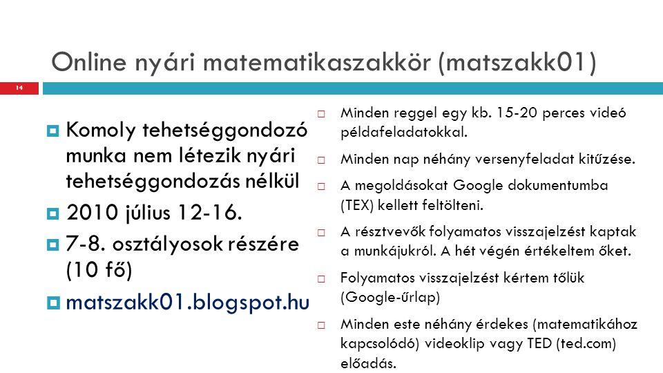 Online nyári matematikaszakkör (matszakk01)