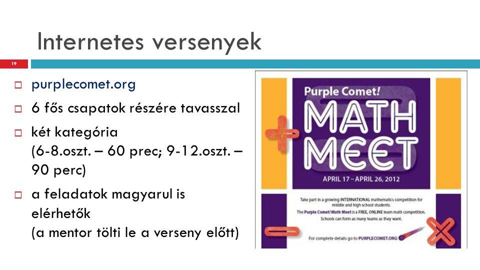 Internetes versenyek purplecomet.org 6 fős csapatok részére tavasszal
