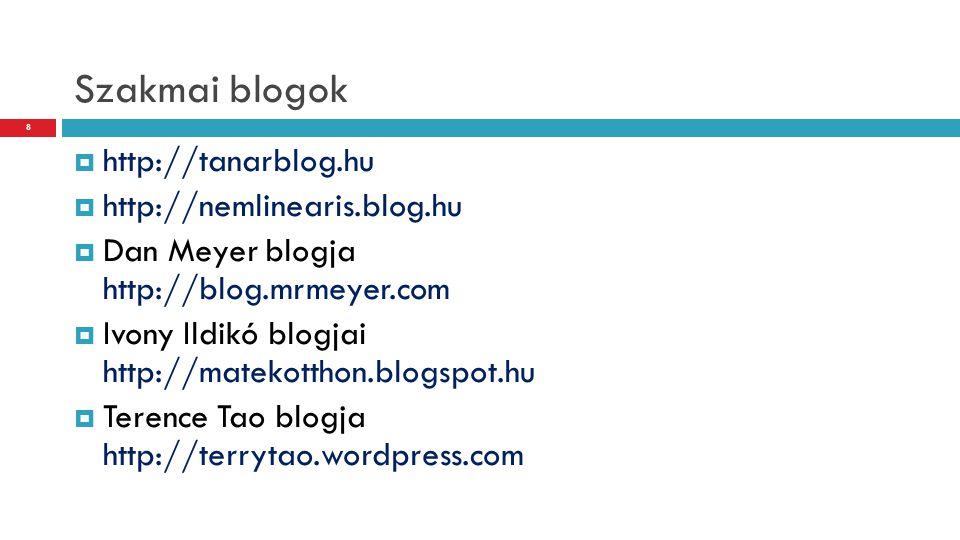Szakmai blogok http://tanarblog.hu http://nemlinearis.blog.hu