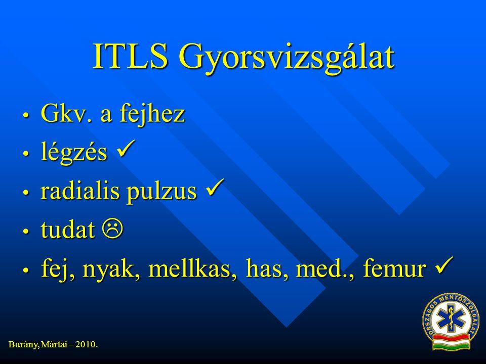 ITLS Gyorsvizsgálat Gkv. a fejhez légzés  radialis pulzus  tudat 