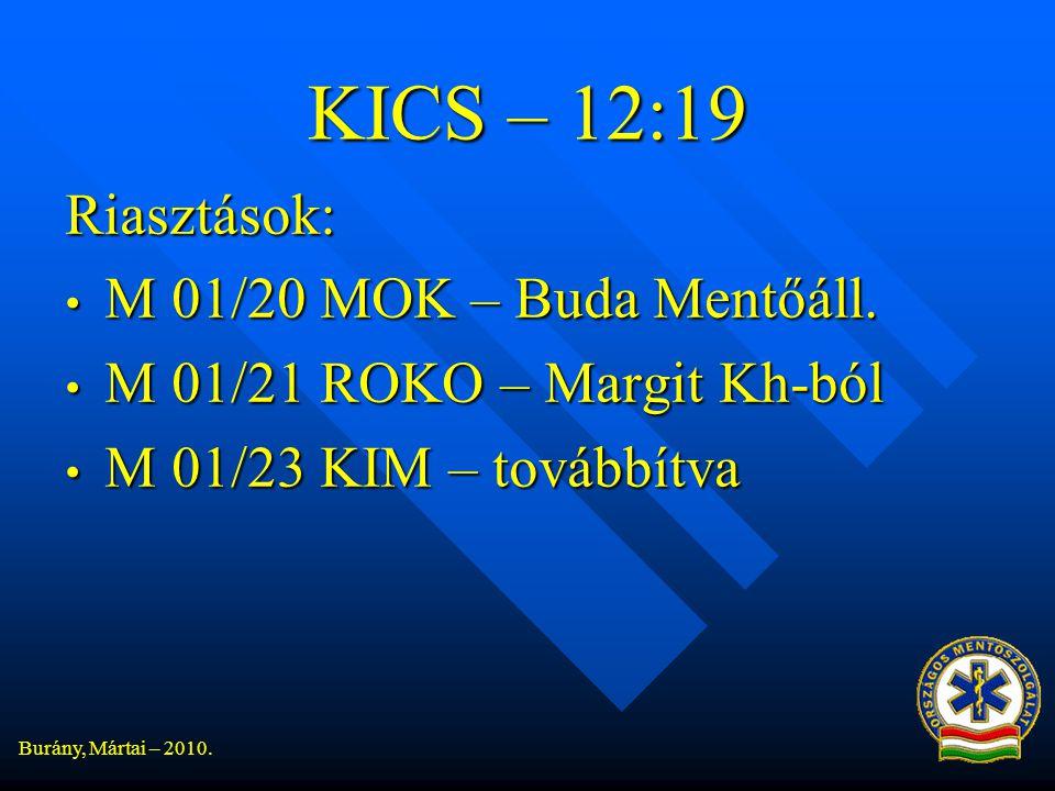 KICS – 12:19 Riasztások: M 01/20 MOK – Buda Mentőáll.