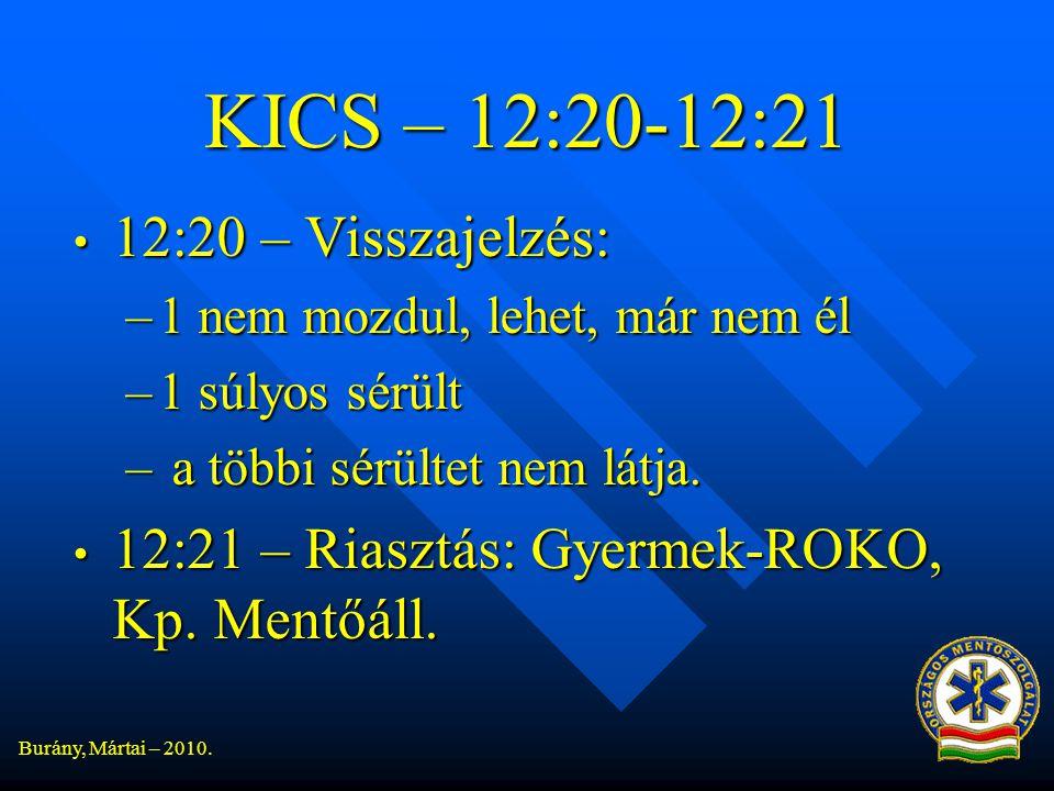 KICS – 12:20-12:21 12:20 – Visszajelzés: