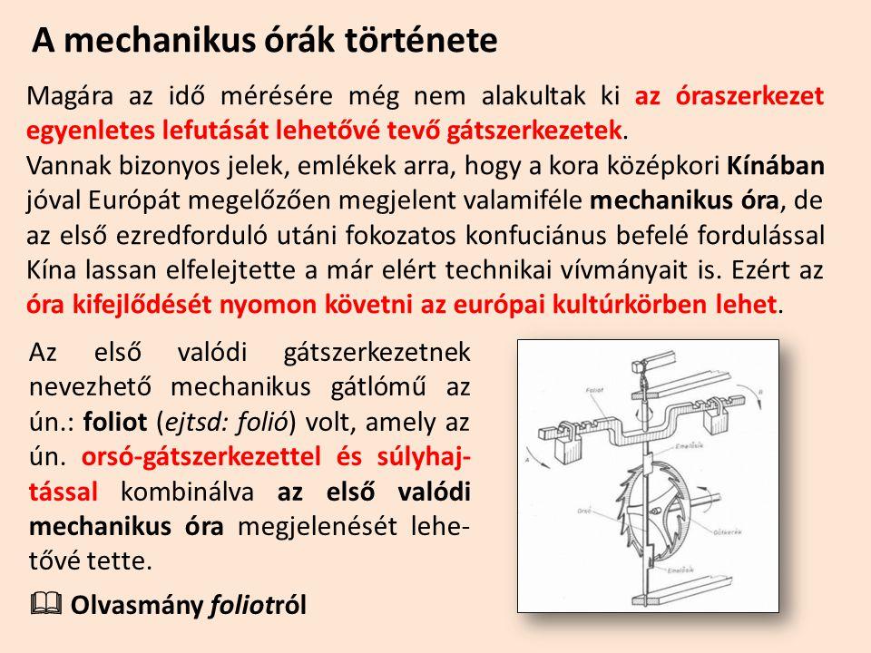 A mechanikus órák története