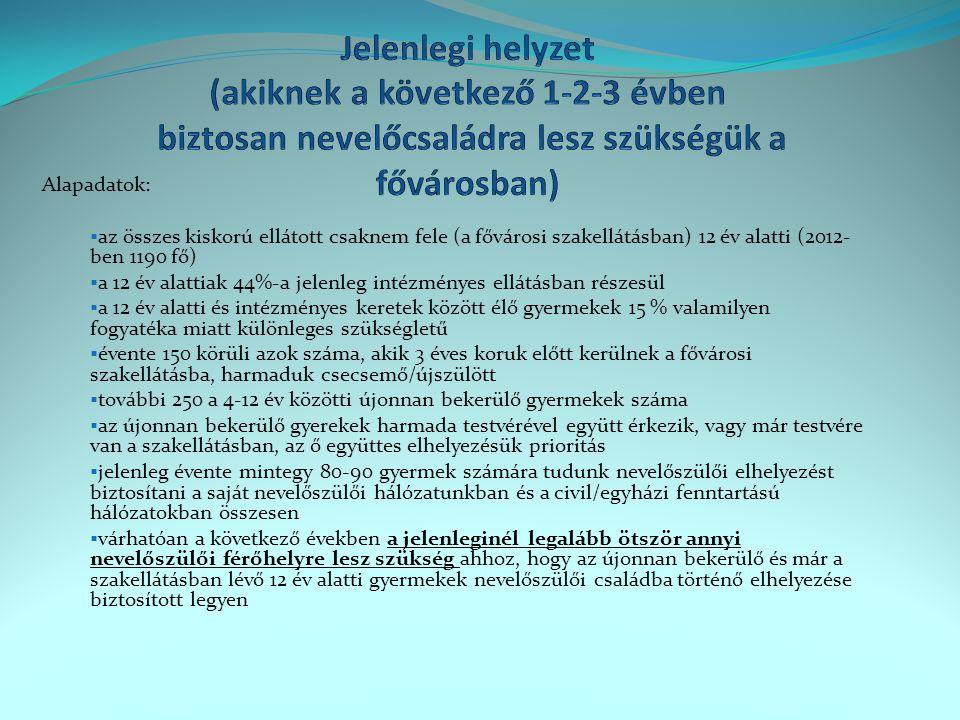 Jelenlegi helyzet (akiknek a következő 1-2-3 évben biztosan nevelőcsaládra lesz szükségük a fővárosban)