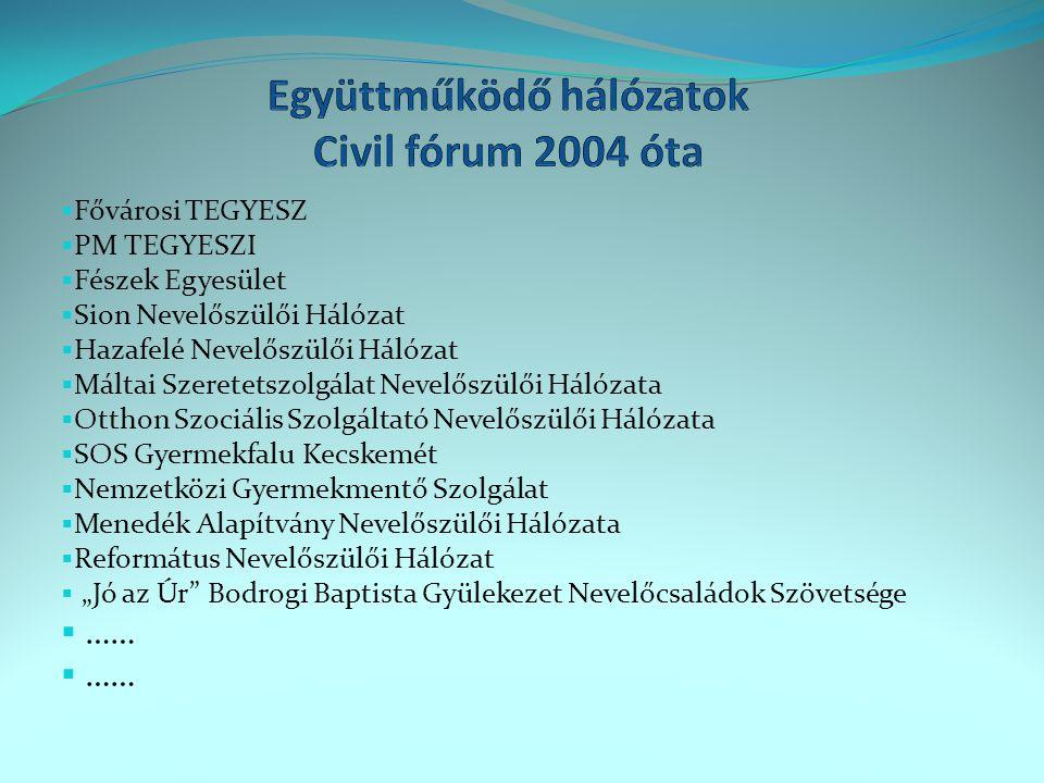 Együttműködő hálózatok Civil fórum 2004 óta