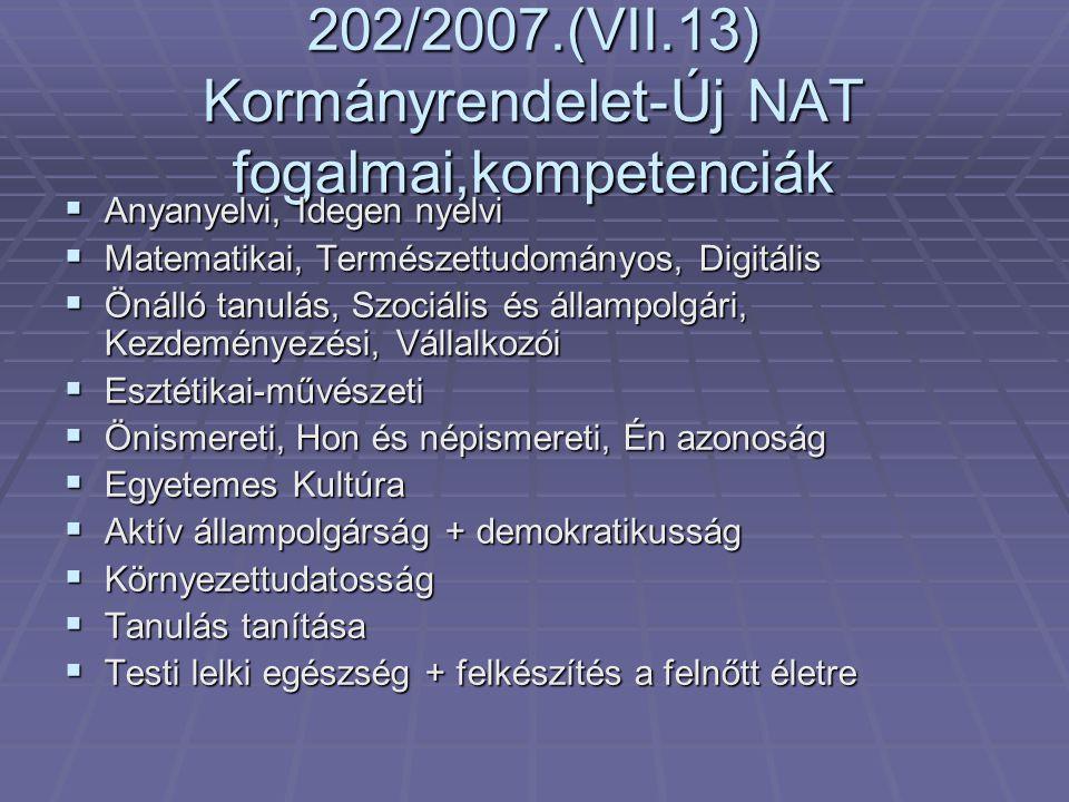 202/2007.(VII.13) Kormányrendelet-Új NAT fogalmai,kompetenciák