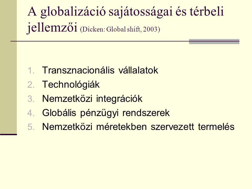 A globalizáció sajátosságai és térbeli jellemzői (Dicken: Global shift, 2003)
