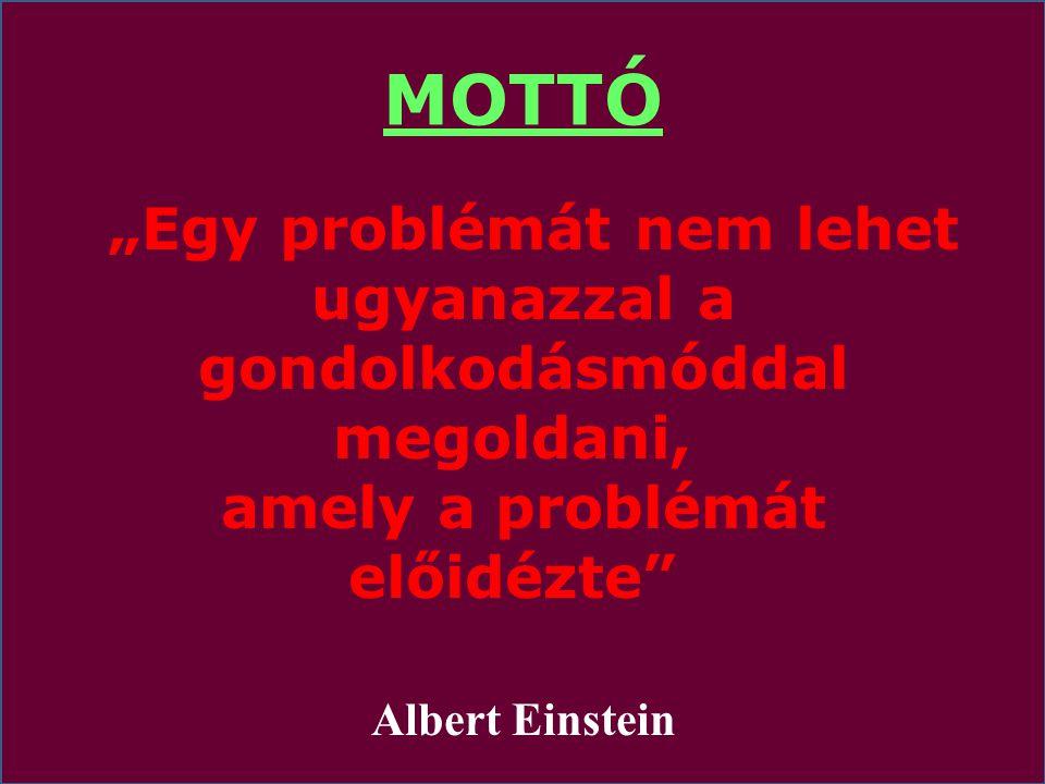 """MOTTÓ """"Egy problémát nem lehet ugyanazzal a gondolkodásmóddal megoldani, amely a problémát előidézte"""