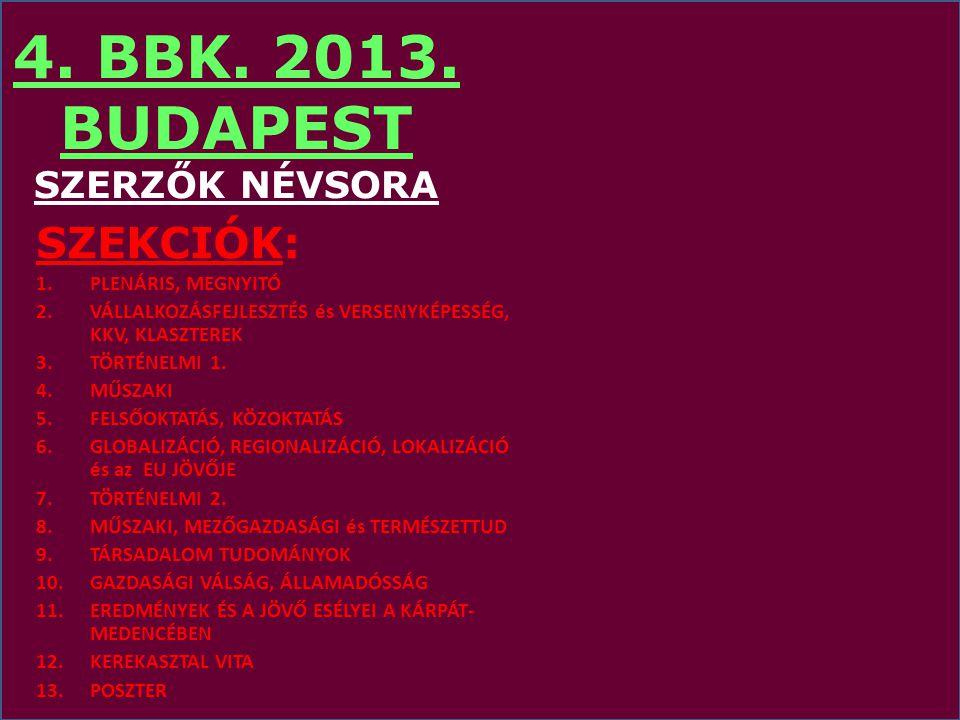 4. BBK. 2013. BUDAPEST SZERZŐK NÉVSORA
