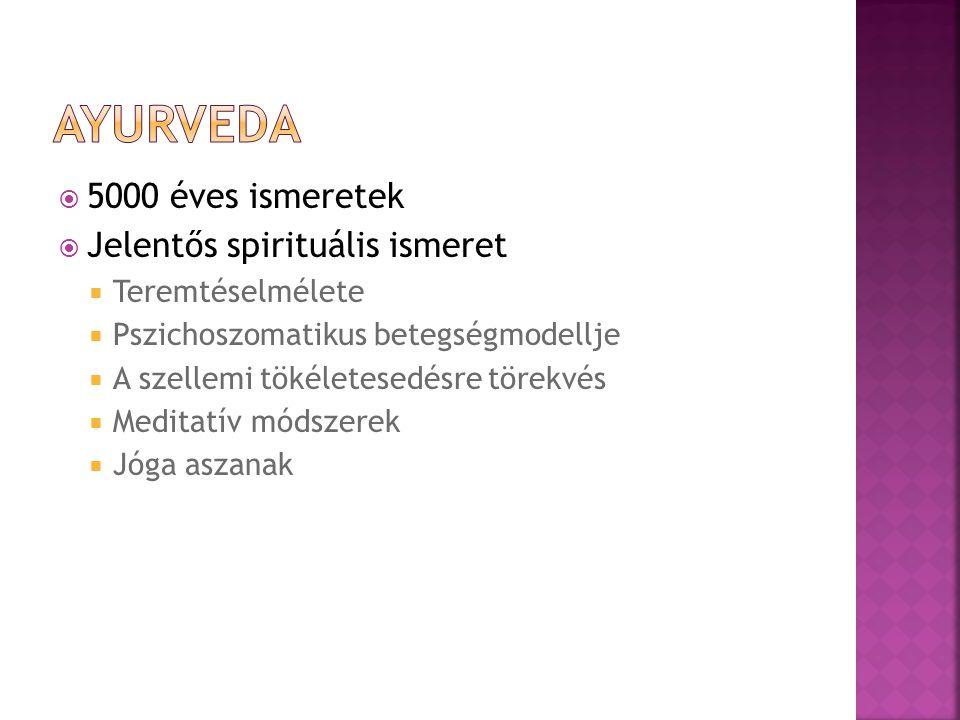 Ayurveda 5000 éves ismeretek Jelentős spirituális ismeret
