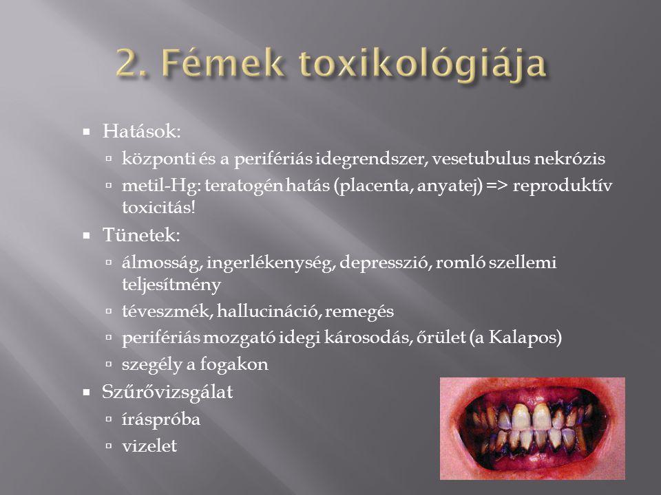 2. Fémek toxikológiája Hatások: Tünetek: Szűrővizsgálat