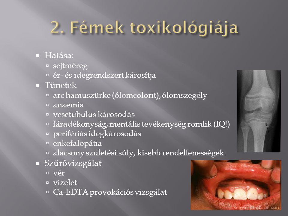 2. Fémek toxikológiája Hatása: Tünetek Szűrővizsgálat sejtméreg