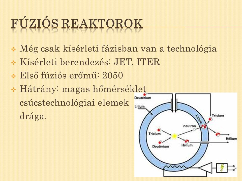Fúziós reaktorok Még csak kísérleti fázisban van a technológia