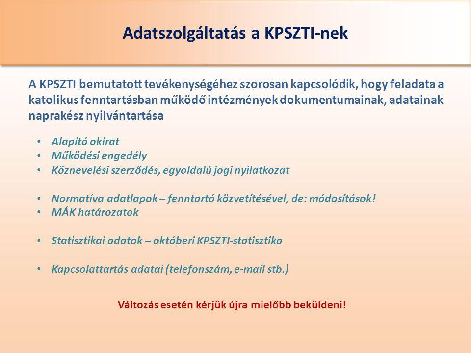 Adatszolgáltatás a KPSZTI-nek