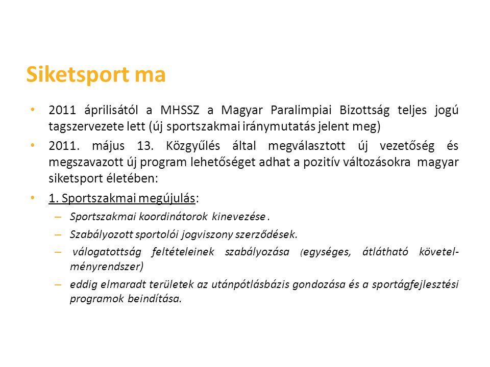 Siketsport ma 2011 áprilisától a MHSSZ a Magyar Paralimpiai Bizottság teljes jogú tagszervezete lett (új sportszakmai iránymutatás jelent meg)