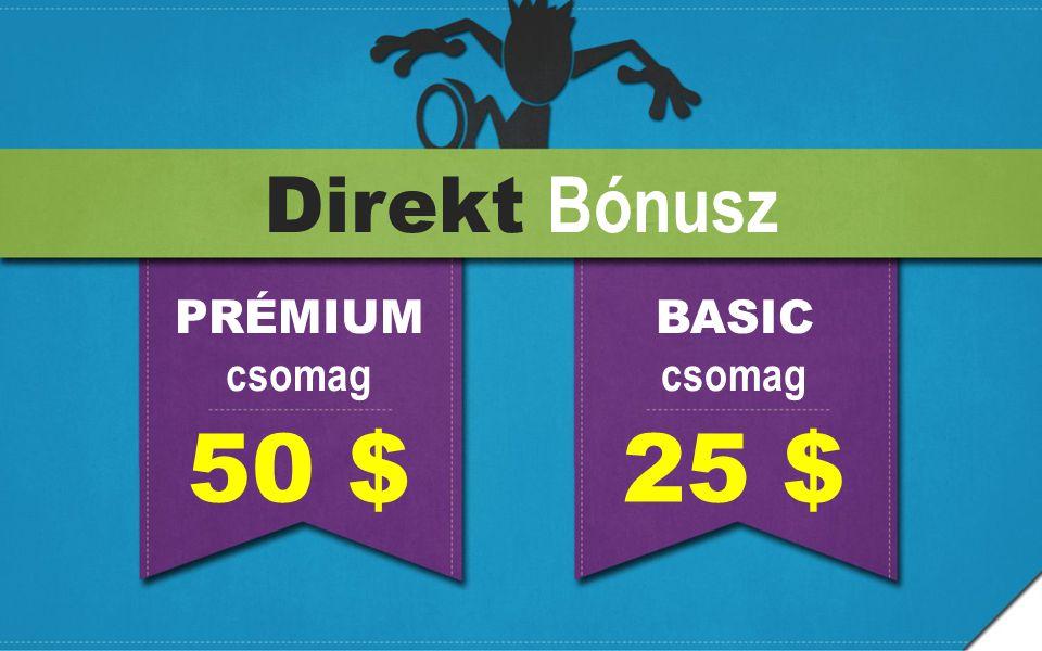 Direkt Bónusz PRÉMIUM csomag BASIC csomag 50 $ 25 $