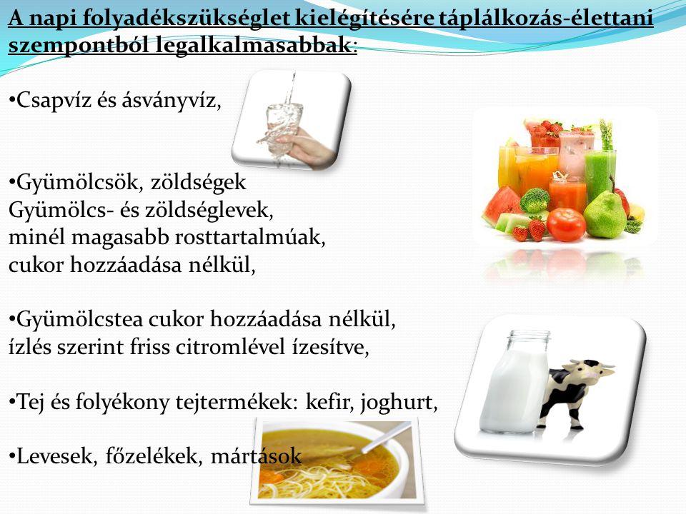 A napi folyadékszükséglet kielégítésére táplálkozás-élettani