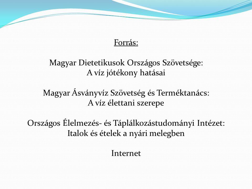 Magyar Dietetikusok Országos Szövetsége: A víz jótékony hatásai
