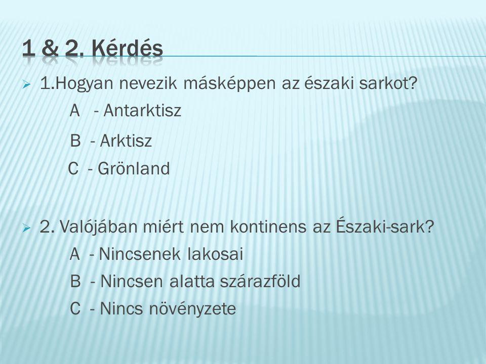 1 & 2. Kérdés B - Arktisz 1.Hogyan nevezik másképpen az északi sarkot