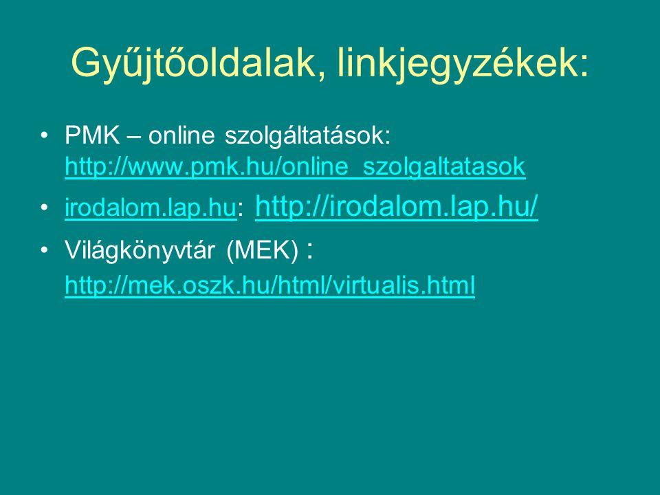 Gyűjtőoldalak, linkjegyzékek: